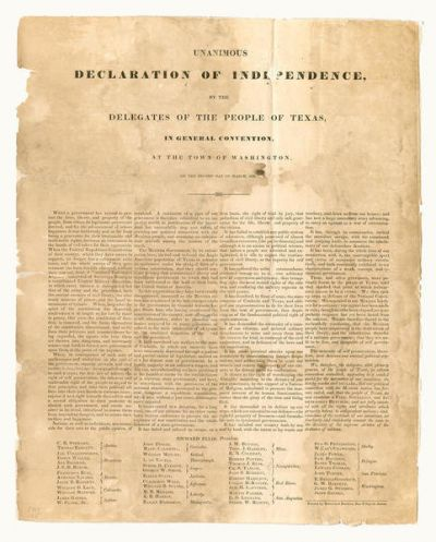 Delegates of the People of Texas Texas Declaration of Independence, March 2, 1836