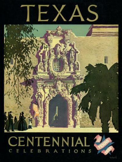 20th Century Graphic Designer Texas Centennial Celebrations poster of people in front of a mission facade