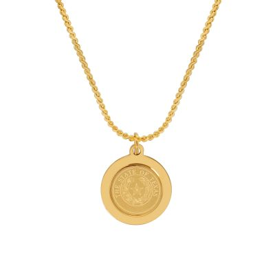 State Seal Gold Plated Pendant Necklace