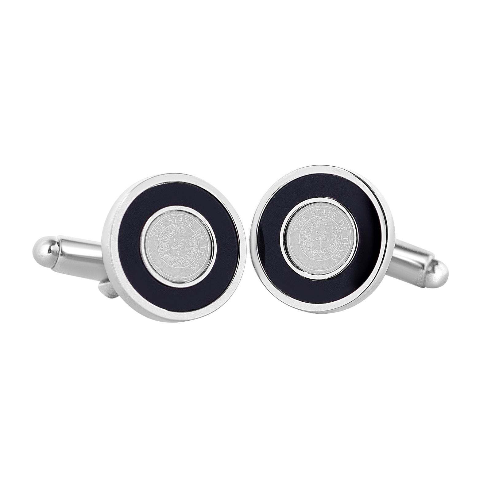 Texas State Seal Silver Tone Cuff Links