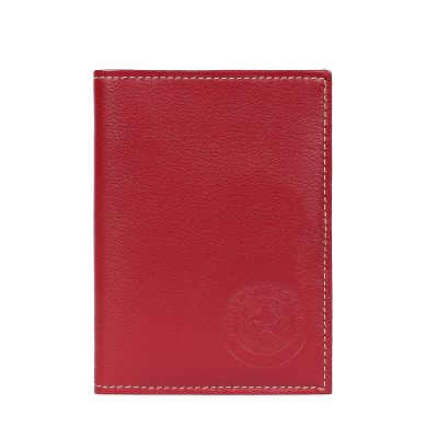Texas State Seal Leather Passport Wallet - Red