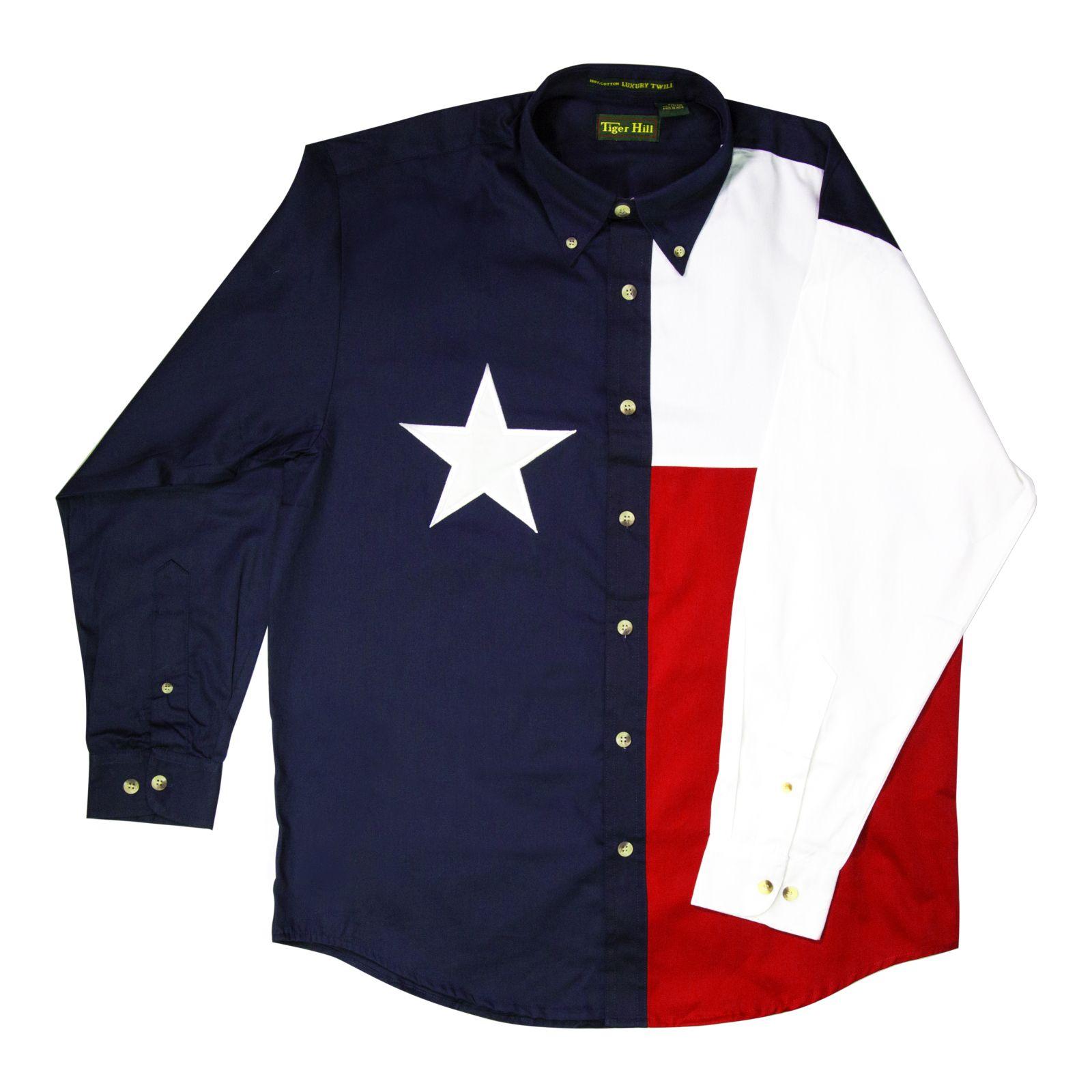 6ea92b31c5b Long-Sleeved Texas Flag Collared Shirt