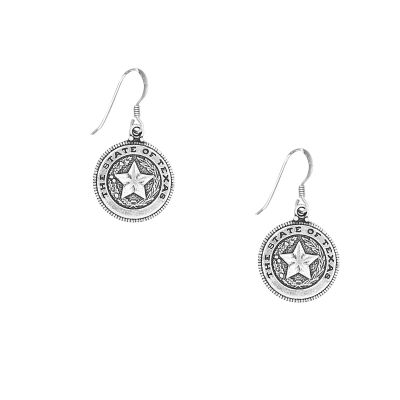 Texas State Seal Sterling Sliver Dangle Earrings