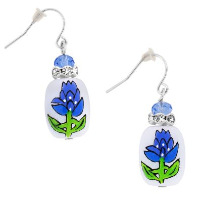Bluebonnet Hand Painted Beaded Earrings