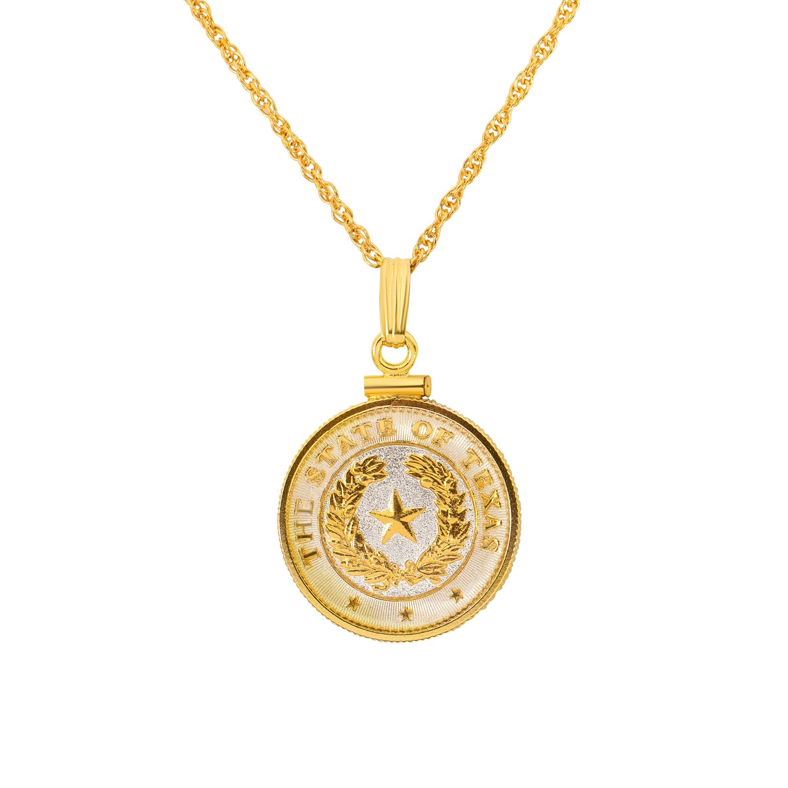 Texas State Seal Gold Plated Pendant Necklace