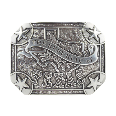The Republic of Texas Silver Tone Belt Buckle