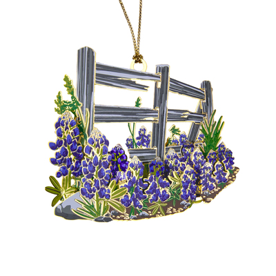 Bluebonnets and Cedar Fence Ornament