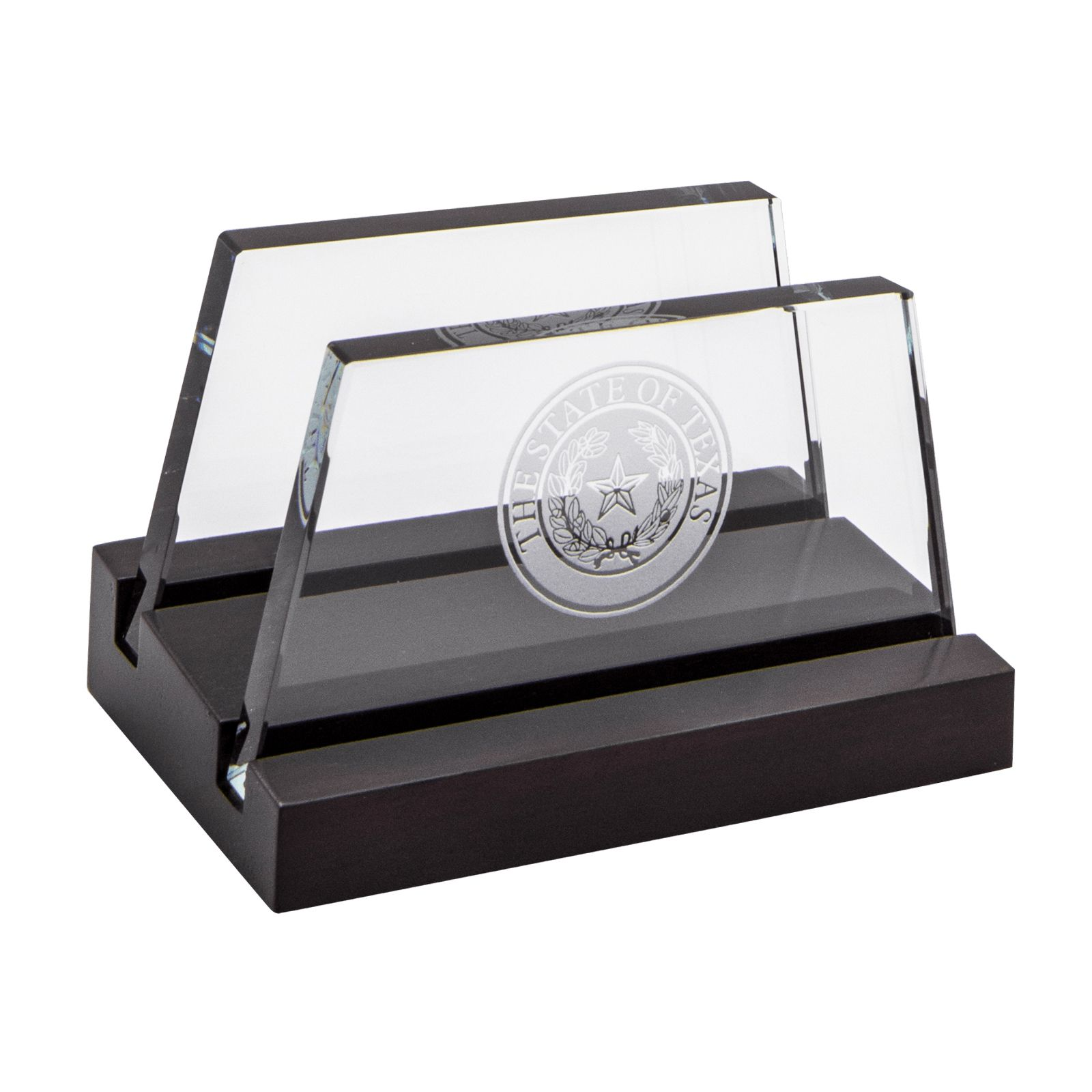Texas State Seal Wood And Gl Desk Business Card Holder Capitol Gift
