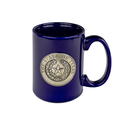 Texas State Seal Blue Ceramic Mug