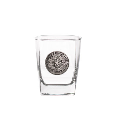 Texas State Seal Pewter Whiskey Glass