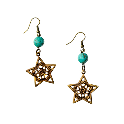Texas Filigree Star Turquoise Drop Earrings