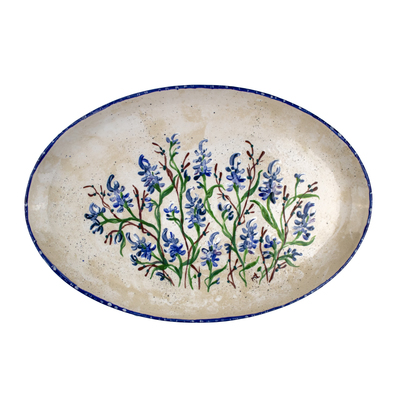 Bluebonnet Hand-Painted Oval Platter