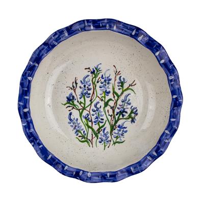 Bluebonnet Hand-Painted Ceramic Pie Dish