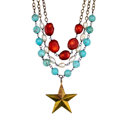 Texas Triple Strand Star Necklace