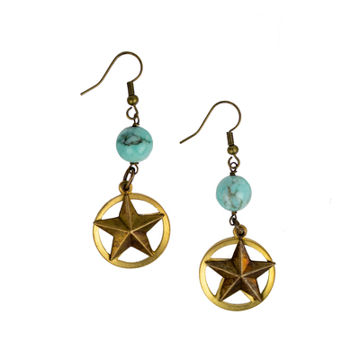 Texas Star Turquoise Drop Earrings