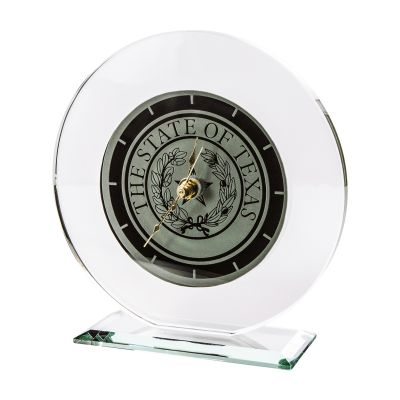 Texas State Seal Large Glass Desk Clock