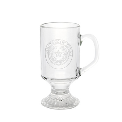 Texas State Seal Etched Irish Coffee Glass