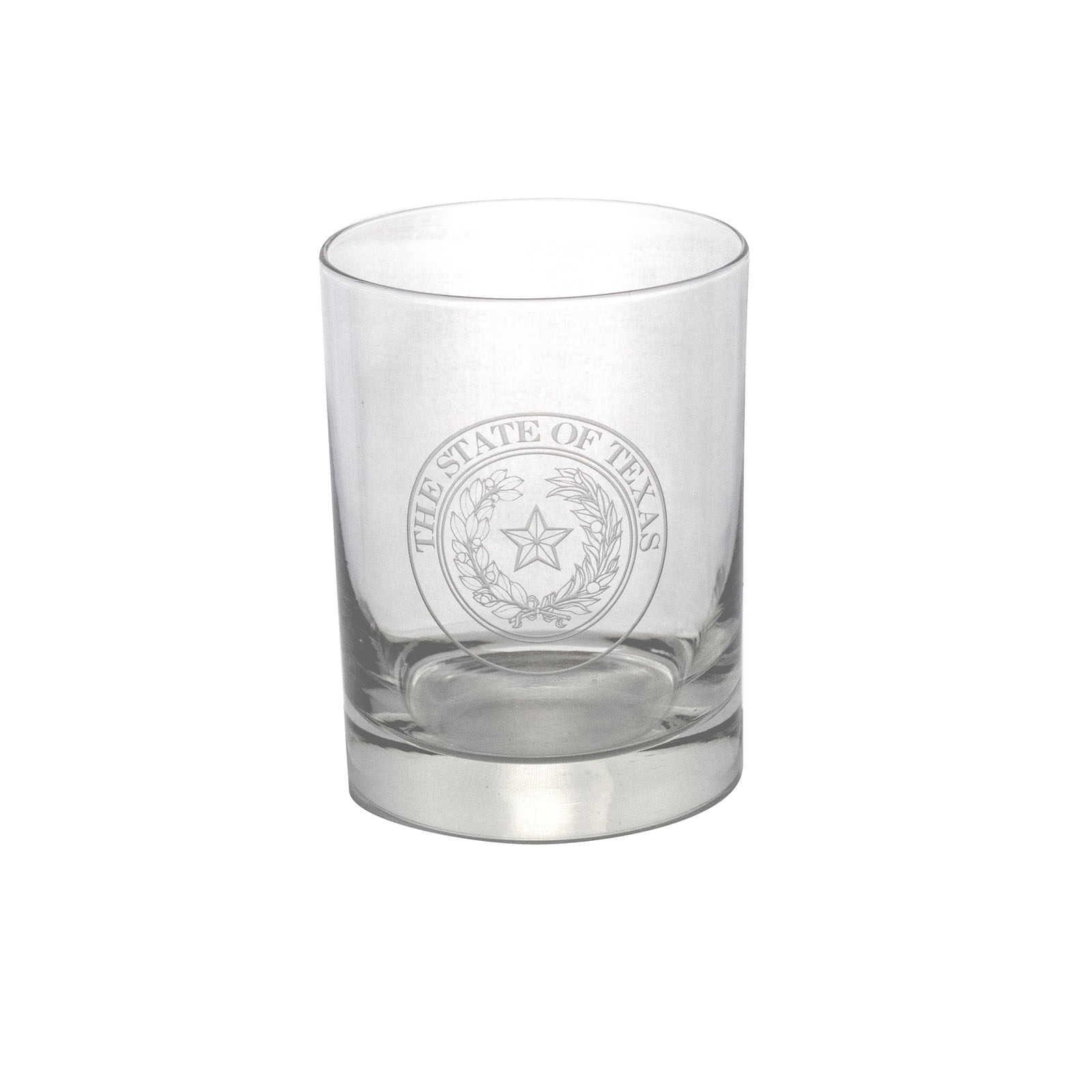 Texas State Seal Etched Whiskey Glass