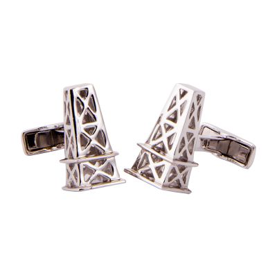 Oil Derrick Sterling Silver Cufflinks