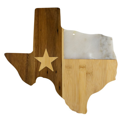 Republic of Texas Wood and Marble Serving Board