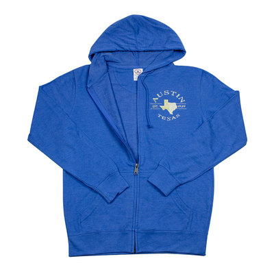Austin Zip-Up Blue Hooded Sweatshirt
