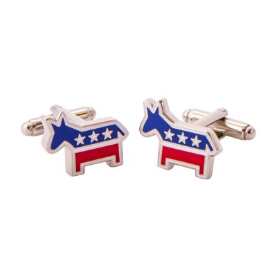 Democrat Silver Tone Cuff Links