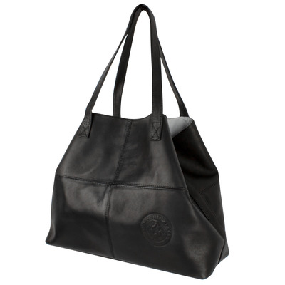 Black Leather Open Tote Bag