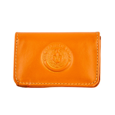 Tangerine Leather Business Card Case