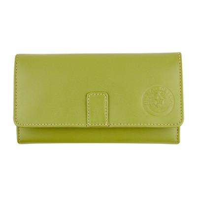Apple Green Leather Long Tri-Fold Wallet