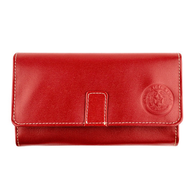Red Leather Long Tri-Fold Wallet