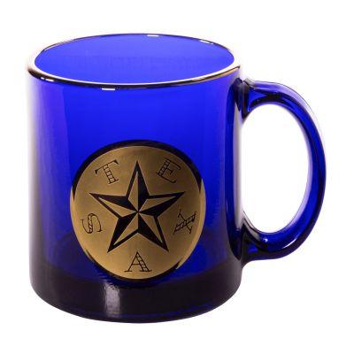 First Flag of the Republic of Texas Cobalt Blue Glass Mug