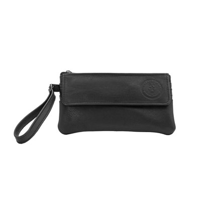 Texas State Seal Leather Flap-Over Wristlet - Black