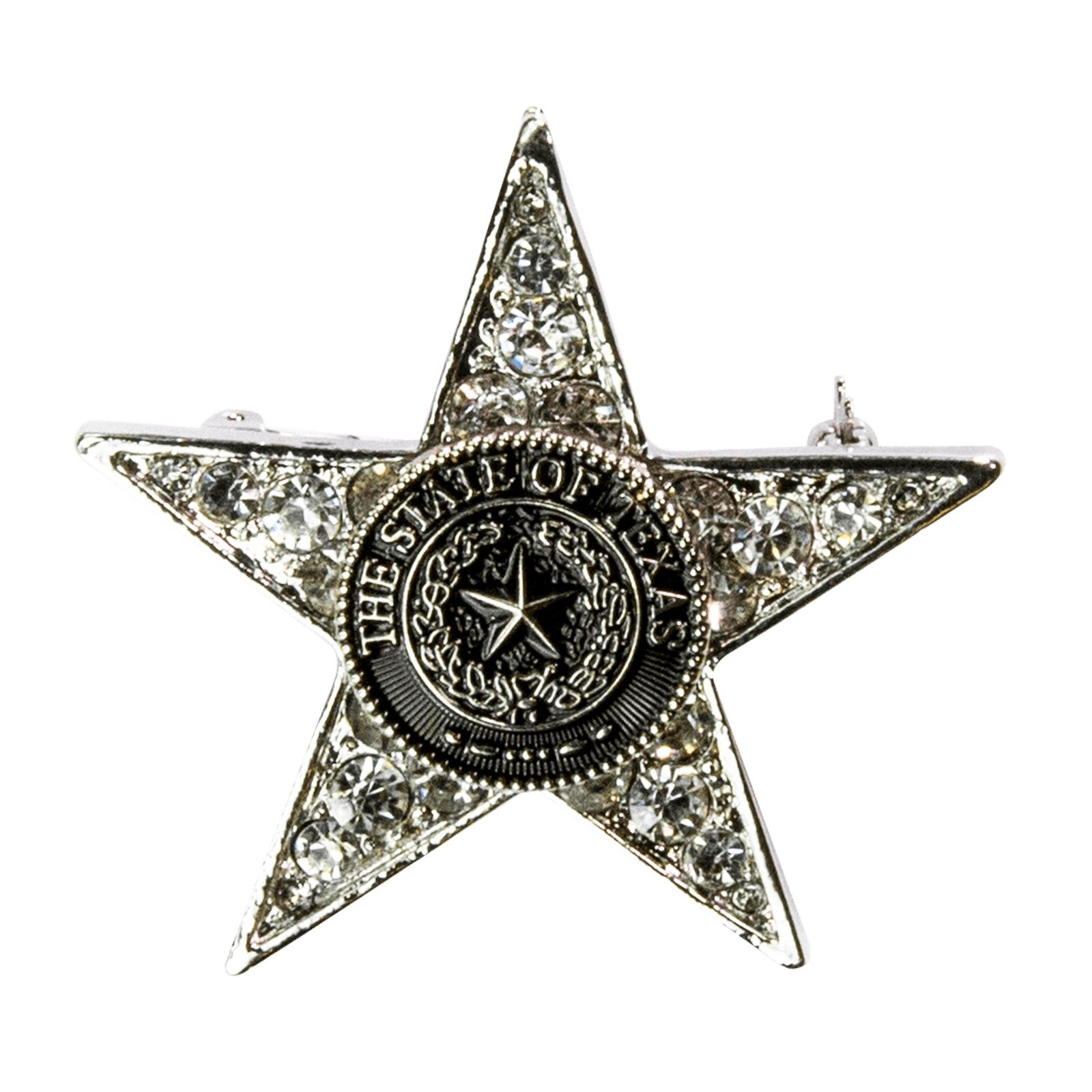 Texas State Seal Star Shaped White Stone Brooch