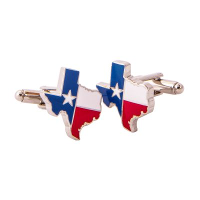 Texas Shaped State Flag Silver Tone Cufflinks