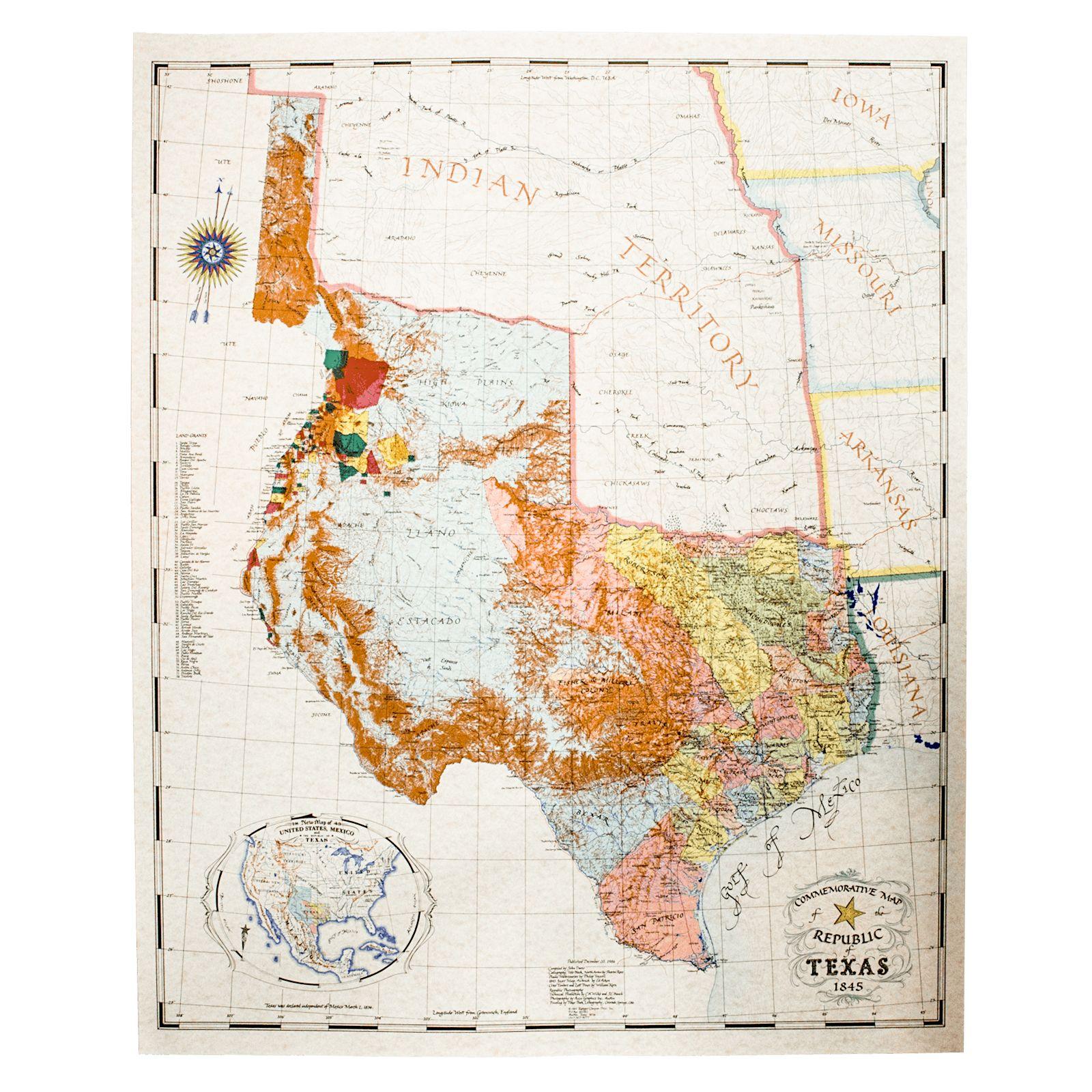 Map Of Texas Capitol.John Davis Map 1845 Print