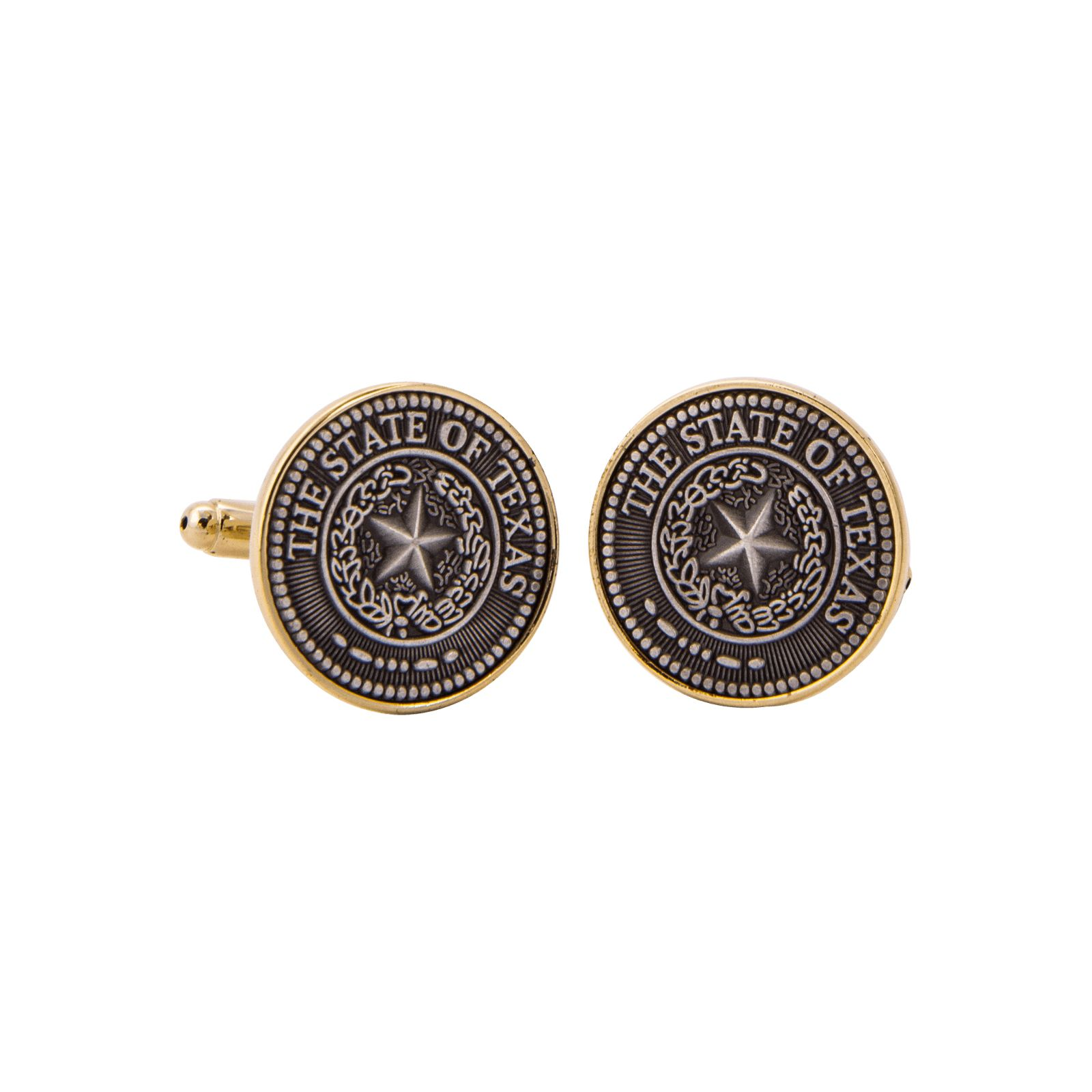 Texas State Seal Pewter and Gold Tone Cuff Links