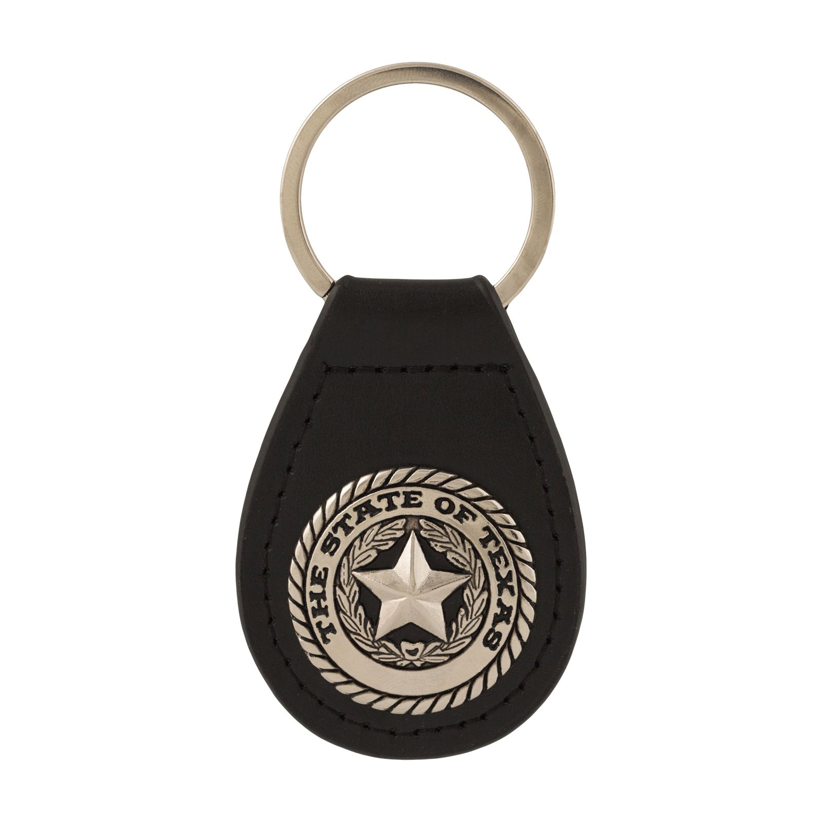 Texas State Seal Black Leather Keychain