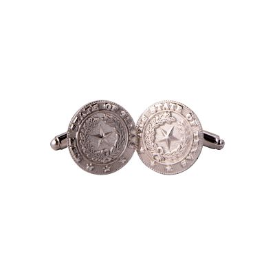 Silver Plate State Seal Cuff Links