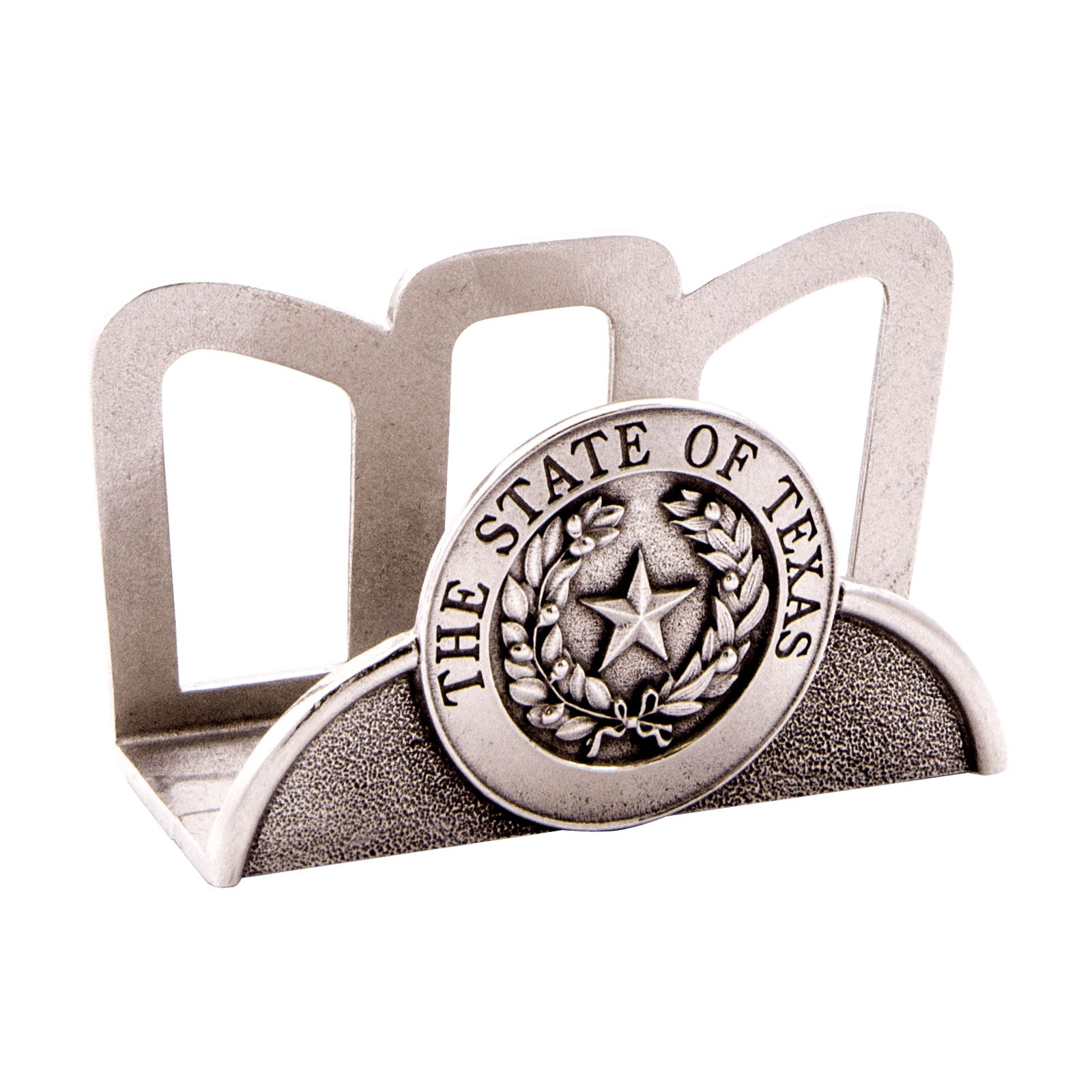 Texas State Seal Pewter Desk Business Card Holder