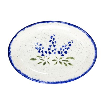 Brookwood Community Pottery Bluebonnet Ceramic Serving Platter