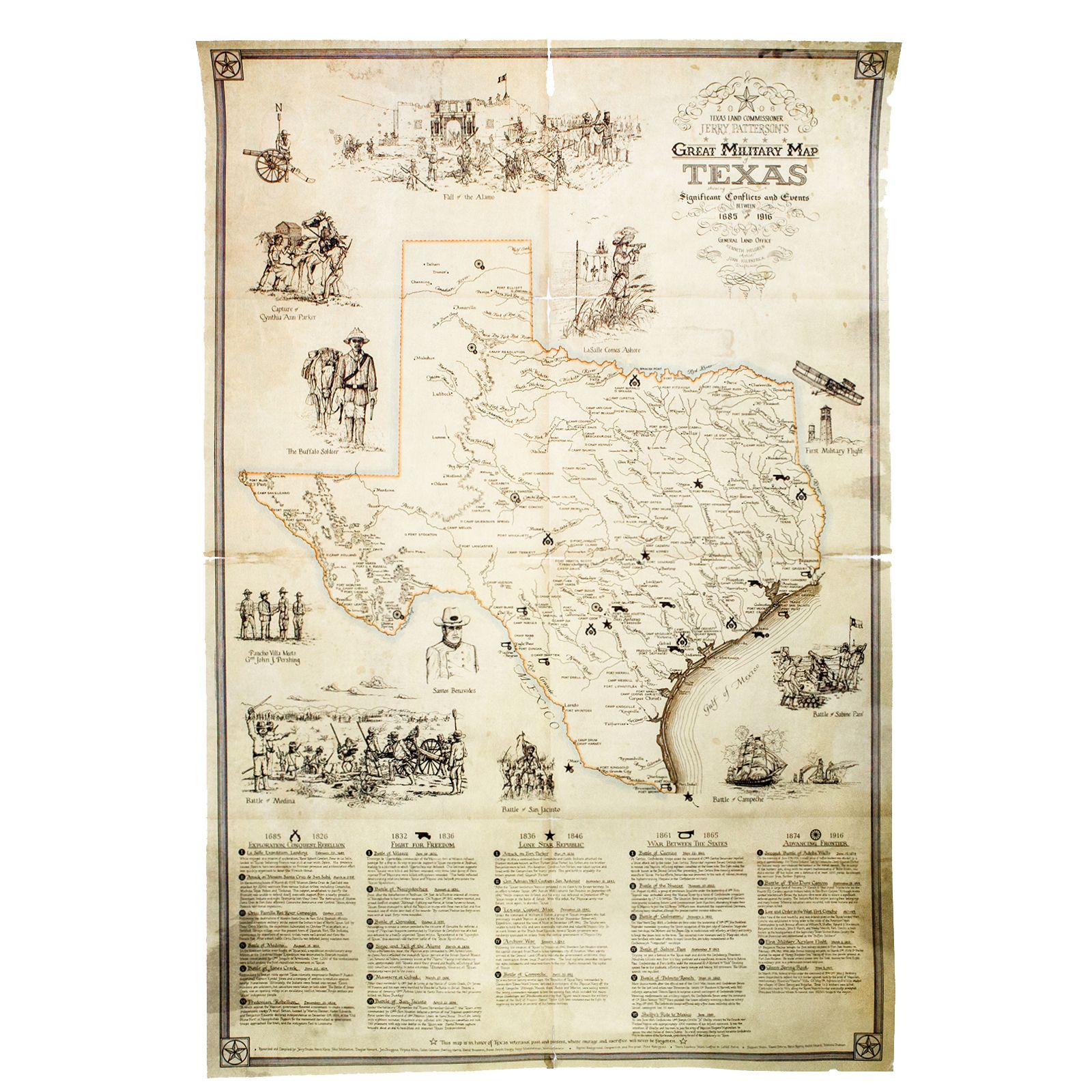 Great Military Map of Texas Print