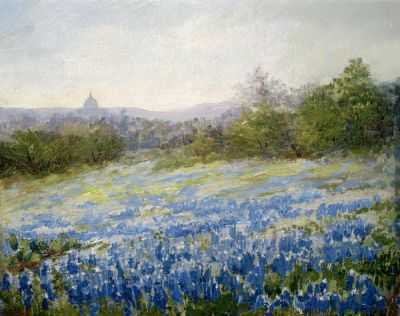Nannie Zenobia Carver Huddle Bluebonnets and the Capitol, c. 1910