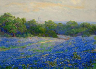 Ella Marie Koepke Mewhinney Bluebonnets with Capitol, c. 1920