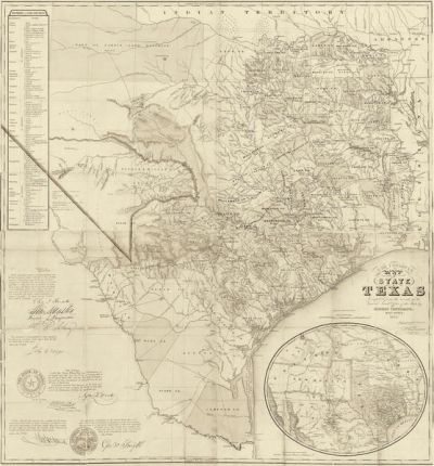 Jacob De Cordova Map of the State of Texas Compiled from the records of the General Land Office of the State 1851