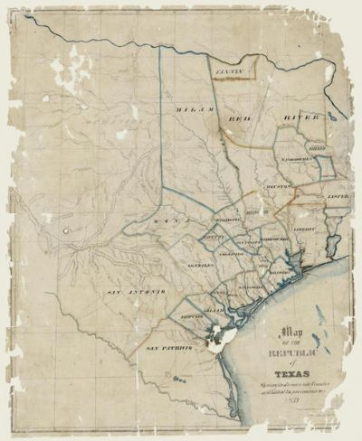 H. Groves Map of the Republic of Texas shewing [sic] its division into Counties and Latest Improvements too 1837