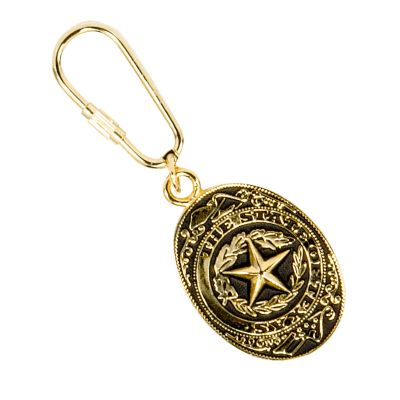 Texas State Seal Gold Tone Keychain