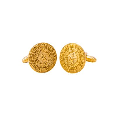 Texas State Seal Gold-Plated Cuff Links